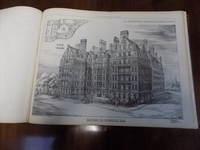 "Lot 12 - ""The Building News."" Volume of plans,..."