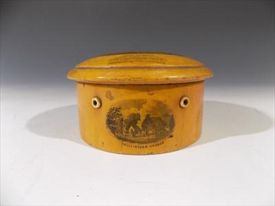Lot 20-A 19th century Mauchline Ware cotton box, the lid ...