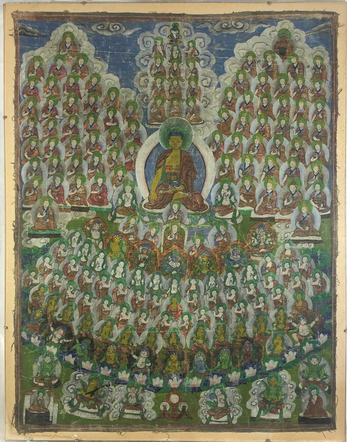 Lot 4-A Tibetan thangka, 19th century, painted on cloth,...