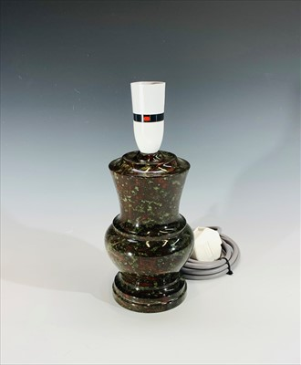 Lot 23-A Cornish serpentine table lamp. Height 26cm...