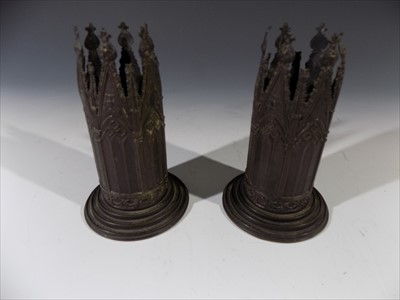 Lot 31-A pair of Days 'Birmingham Gothic' cast brass...