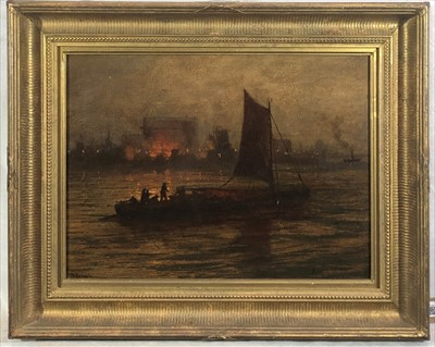 Lot 7-Continental School, late 19th Century Night Fire, ...