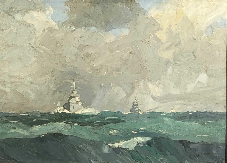 Lot 627-Hugh E. RIDGE (1899-1976) Naval Vessel off the...