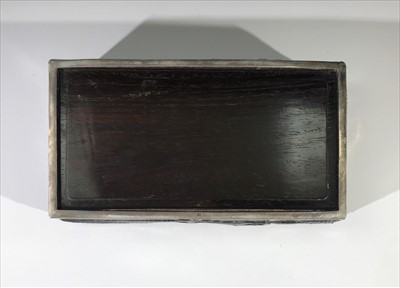 Lot 1-A Chinese silver and hardwood cigar box, 19th...