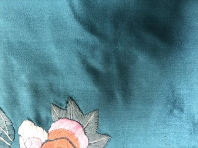 Lot 15-A Chinese blue silk embroidered robe and matching ...