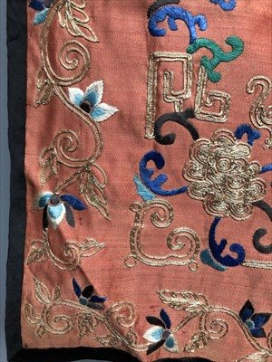 Lot 17-A Chinese silk embroidered pouch, late 19th...