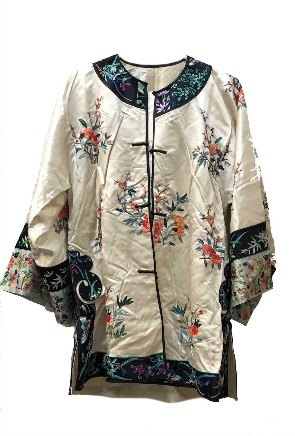 Lot 11-A Chinese white silk embroidered robe and...
