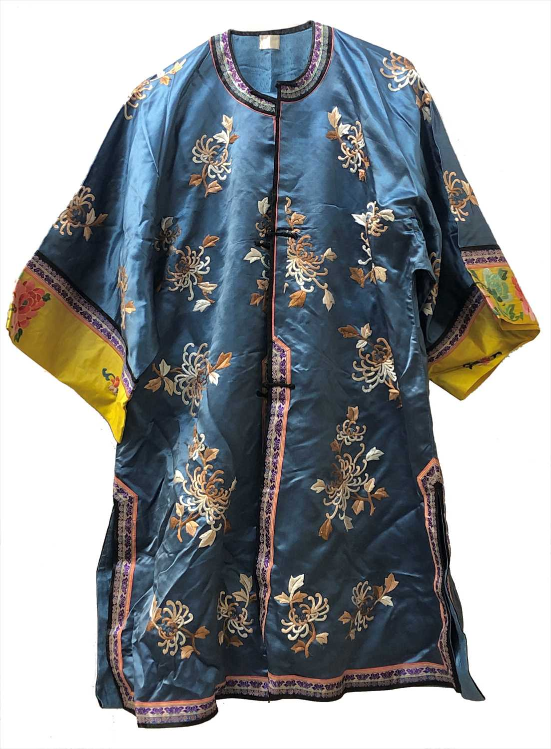 Lot 12-A Chinese blue silk embroidered robe, trousers...