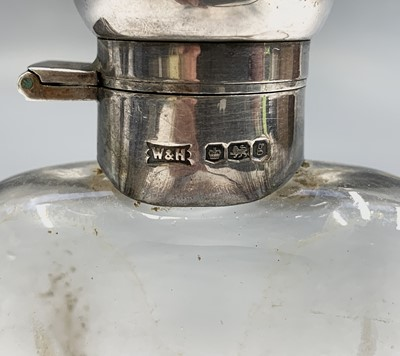 Lot 1083 - Walker and Hall silver and glass cup hipflask...