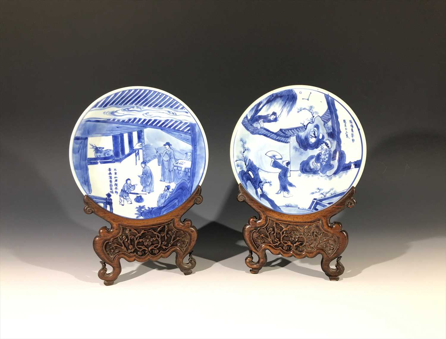Lot 6-Two Chinese blue and white porcelain dishes,...