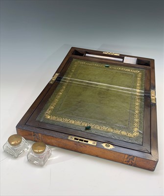 Lot 11-A Victorian Tunbridge ware writing slope with...