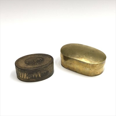 Lot 43-Two Georgian brass snuff boxes, one with garland...