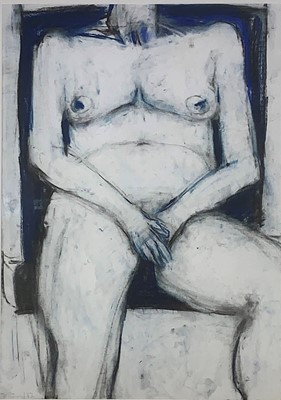 Lot 10-John EMANUEL (b.1930) Seated Female Nude Charcoal ...