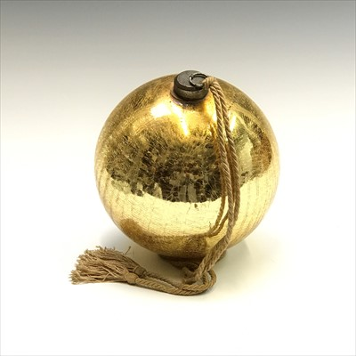 Lot 2-A Victorian gold glass witch ball. Height...