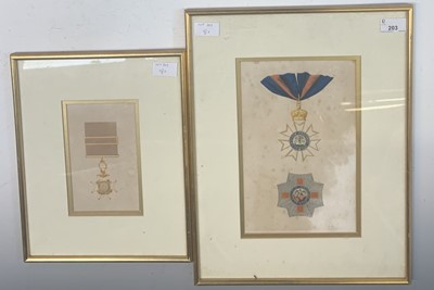 Lot 203 - Medals interest:Two framed and glazed oil...