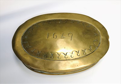 Lot 13-A brass tobacco box of oval form, inscribed...