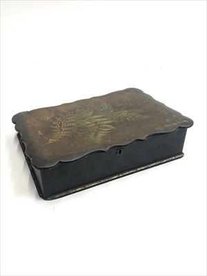Lot 3-A Victorian papier mache writing slope, the lid...