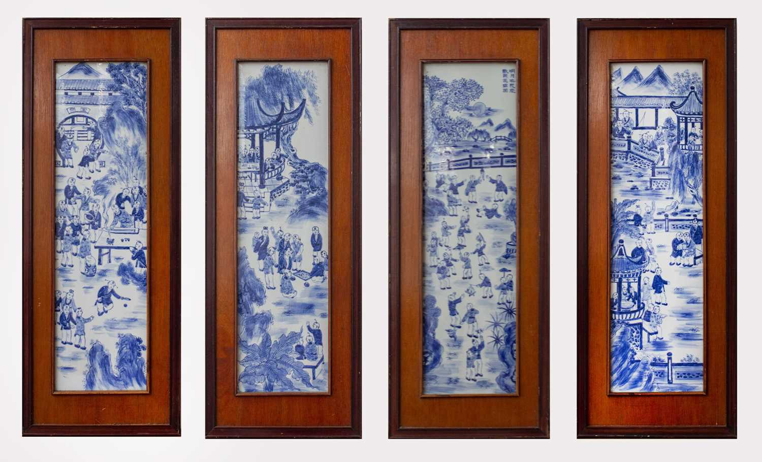 Lot 5-A set of four Chinese blue and white porcelain...