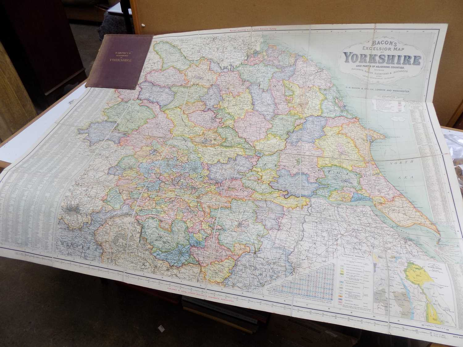 """Lot 1254 - FOLDING ENGR. MAP. """"Bacon's Excelsior Map of..."""