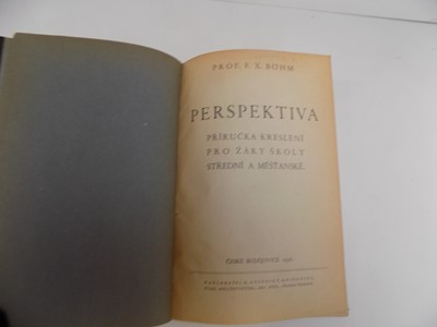 "Lot 1258 - BOHM (PROF. F.X.) ""Perspektiva."" Orig, bds,..."