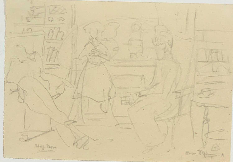 Lot 22-Sven BERLIN (1911 - 1999) Staff Room Drawing...