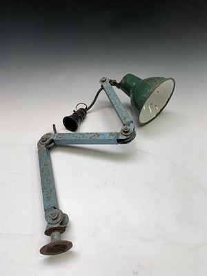 Lot 24-A mid century adjustable workshop lamp, with...