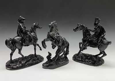 Lot 10-A black painted spelter model of a Marly horse,...
