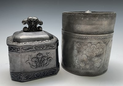 Lot 6-A 19th century lead tobacco box and cover, of...