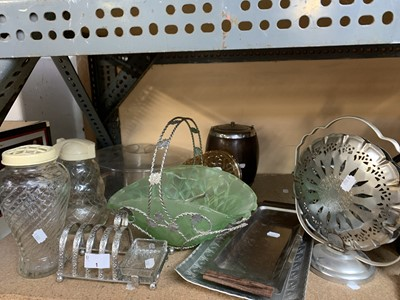 Lot 1-A silver-plate toast rack, glass vases, etc.