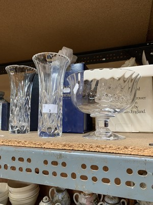 Lot 3-Three lead crystal vases, one by Dartington, one...