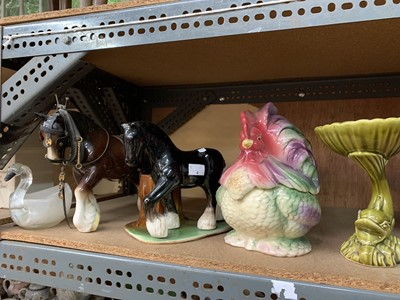 Lot 4-Five items, including two shire horse figurines...