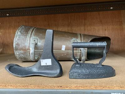 Lot 5-A copper coal hod, a boot last and a flat iron.
