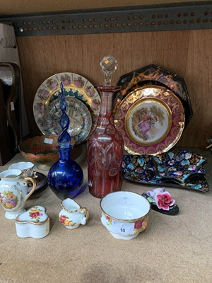 Lot 10-A collection of plates, two glass decanters, etc.
