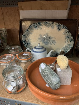 Lot 11-Kilner jars containing coins, ceramic fruit bowl, ...