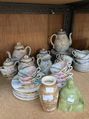 Lot 13-Two Japanese part tea-sets, a buddha figurine,...