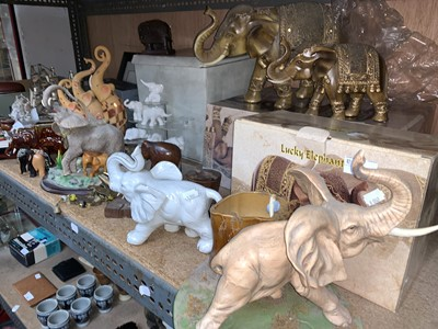 Lot 15-Elephant figurines, including two boxed 'Lucky...