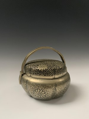 Lot 4-A Chinese bronze hand warmer, Qing Dynasty,...
