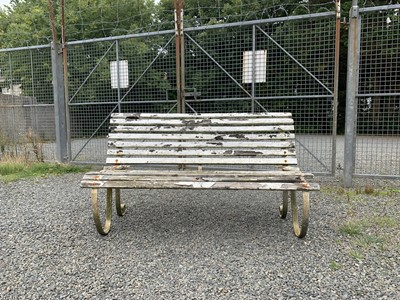 Lot 19-A Regency style garden bench with scroll wrought...