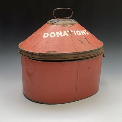 Lot 13-A Victorian tin hat box, converted into a...