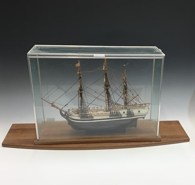 Lot 10-A painted wood scale model of HMS Bounty, with...