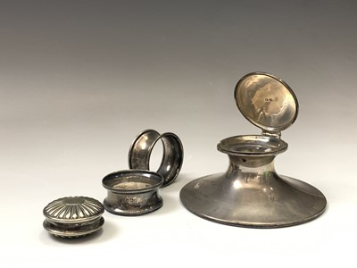 Lot 17-A filled silver capstan inkwell two silver...