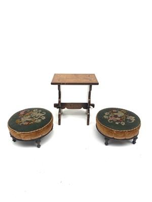Lot 23-A pair of Victorian circular mahogany footstools, ...