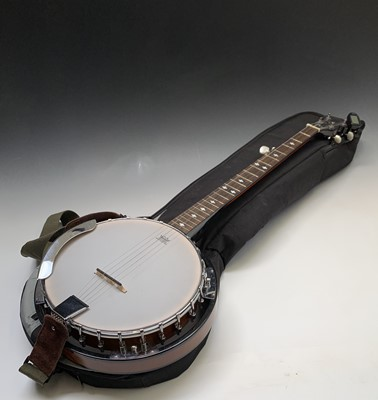 Lot 9-A Stagg five string Banjo, in soft case length...