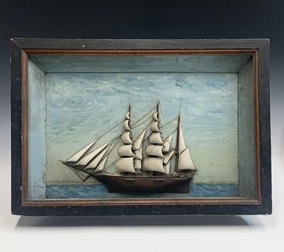 Lot 1-A late 19th century diorama, the three masted...
