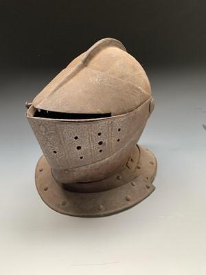 Lot 5-A continental close helmet, probably 19th...