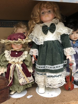Lot 5-A porcelain doll in Victorian dress complete...