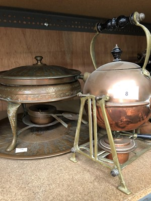 Lot 8-A copper kettle with stand and burner, two...