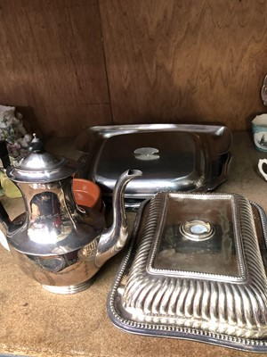 Lot 13-A silver plated coffee pot chased with...