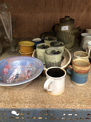 Lot 19-Tremar pottery coffee set including coffee pot...
