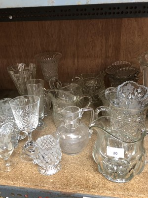 Lot 20-A selection of mainly pressed glass jugs,...